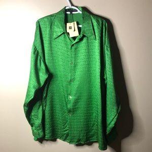 Creme de silk green patterned 100% silk dress top